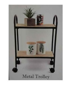 Metalen trolley met hout